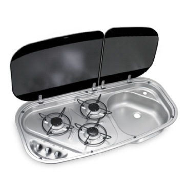 DOMETIC HSG 3436 THREE-BURNER HOB AND SINK COMBINATION WITH GLASS LIDS, 840 X 436 MM